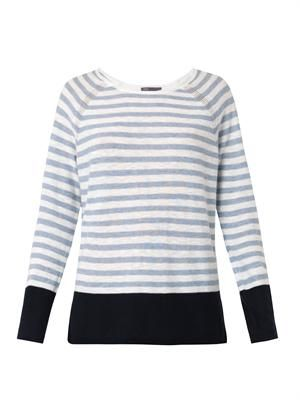Striped colour-block cotton sweater