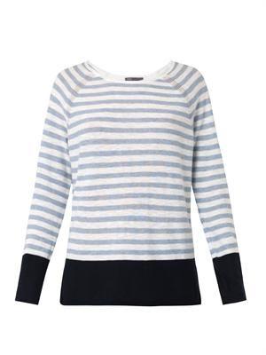 Striped colour-block cotton sweater