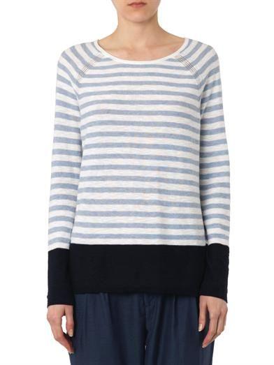 Vince Striped colour-block cotton sweater