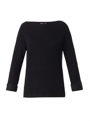 Foil contrast ribbed-knit sweater