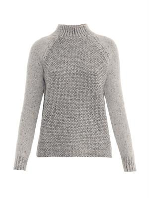 Seed-stitch wool-blend sweater
