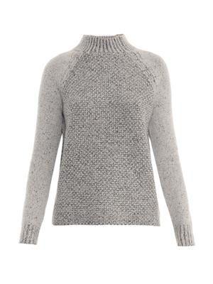 Seed-stitch wool-blend sweater