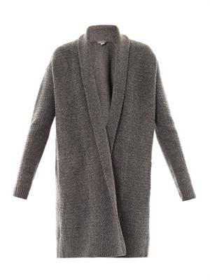 Textured-knit draped cardigan