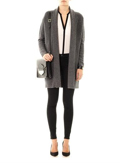 Vince Textured-knit draped cardigan