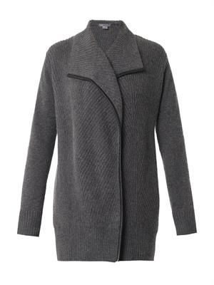 Leather-trimmed ribbed-knit cardigan