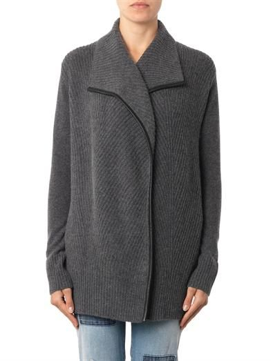 Vince Leather-trimmed ribbed-knit cardigan
