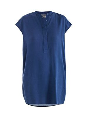 Half placket silk dress