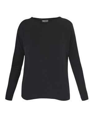Silk front knitted sweater