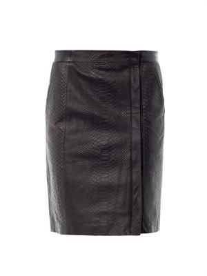 Snake-embossed leather skirt