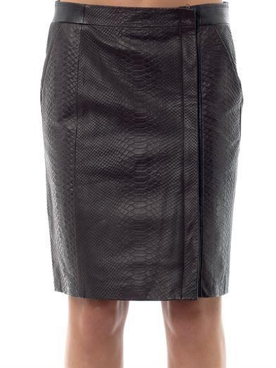Vince Snake-embossed leather skirt