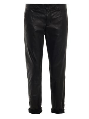 Relaxed-leg leather trousers