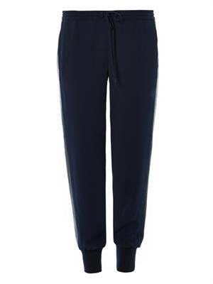 Leather-stripe crepe sweatpants