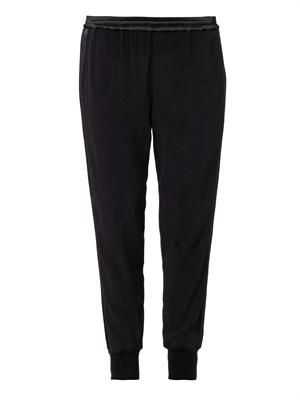 Satin-trim crepe trousers