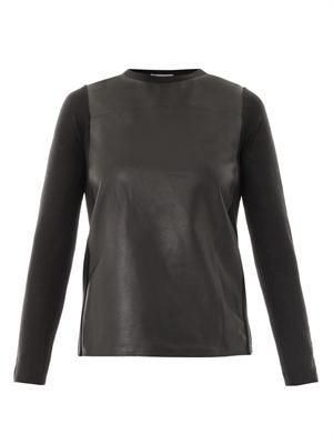 Leather front sweater