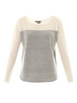 Colour-block fine-knit cashmere sweater
