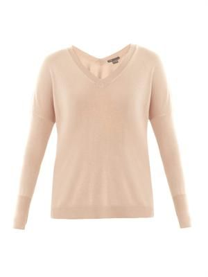 V-neck silk and cashmere-blend sweater
