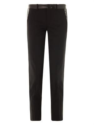 Leather-trim wool-crepe trousers