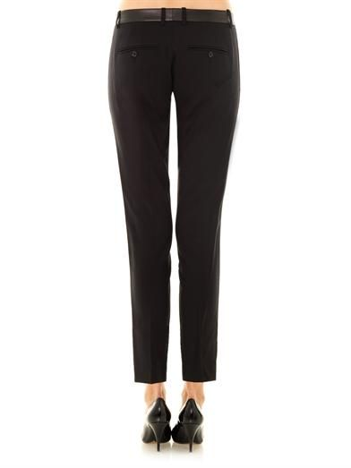 Vince Leather-trim wool-crepe trousers