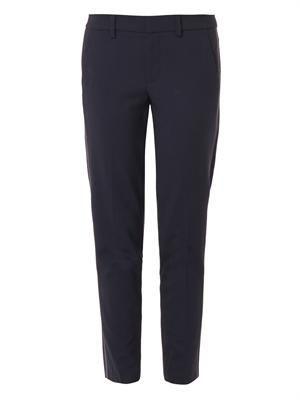 Side-stripe skinny trousers