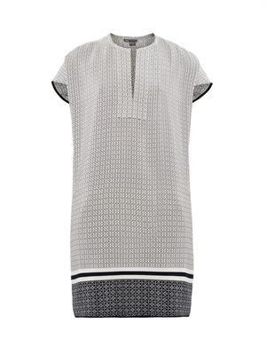 Clover-print silk tunic