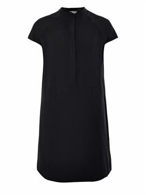 Laser-cut placket crepe tunic