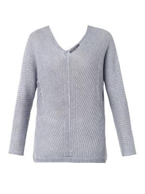 Stonewashed linen-knit sweater