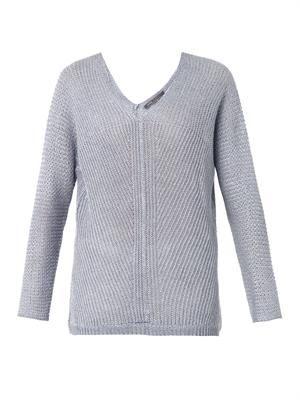 Stonewashed linen-knit sweater