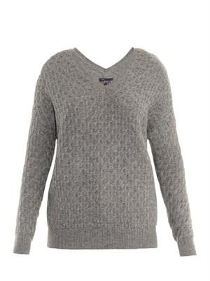 Brick-knit wool-blend sweater