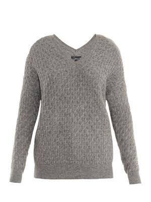Brick-knit wool-blend sweater