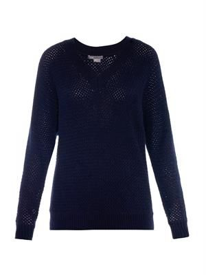 Basketweave wool-blend sweater