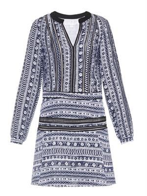 Lace-trim Peasant-print dress