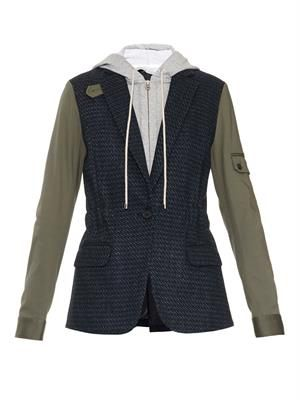 Contrast-sleeve hooded dickey jacket