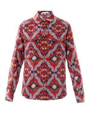 Bonfire bandana-print silk blouse