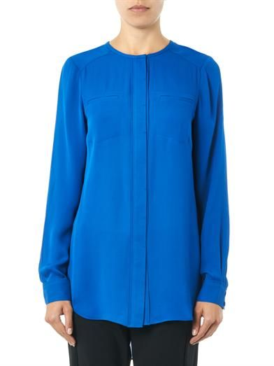 Veronica Beard Silk-georgette chest-pocket blouse