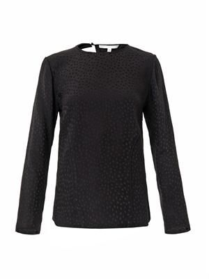 Spot-jacquard silk blouse