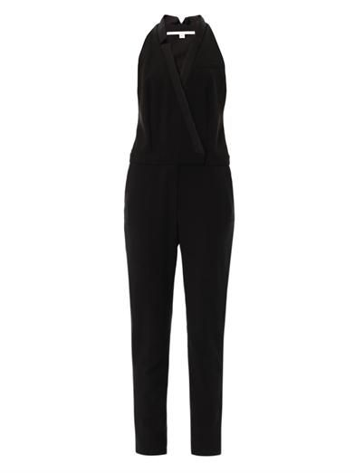 Veronica Beard Tuxedo sleeveless crepe jumpsuit