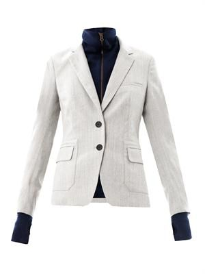 Removable-dickie herringbone blazer