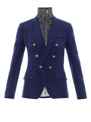 Removable-dickey silk-crepe blazer