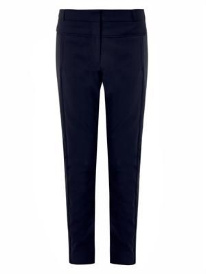 Skinny-leg tailored navy trousers