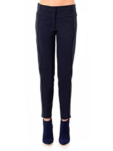 Veronica Beard Skinny-leg tailored navy trousers