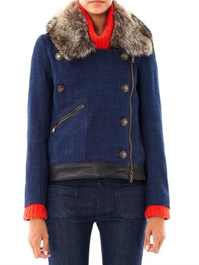 Veronica Beard Fur collar driving jacket