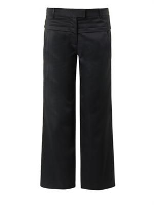 Textured-crepe cropped trousers