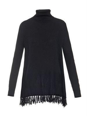 Kyla roll-neck fringed cashmere sweater