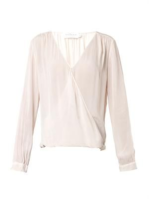 Challis draped-front V-neck blouse