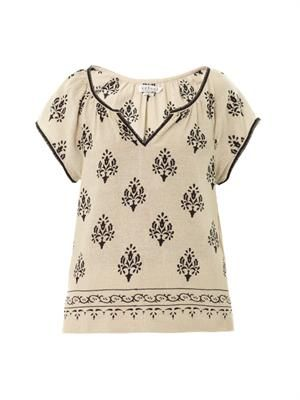Roseanne printed silk-noil top