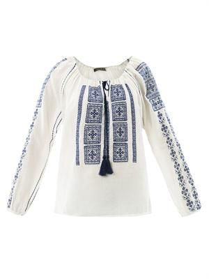 Embroidered gauze peasant blouse