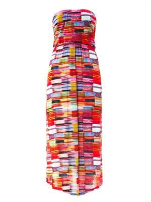 Kaila printed strapless column dress