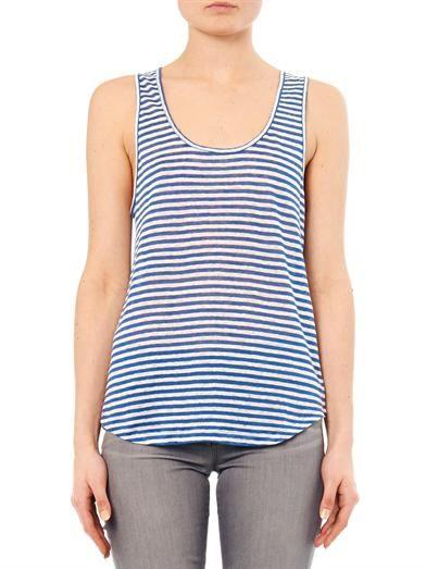 Velvet by Graham & Spencer Demi striped linen tank