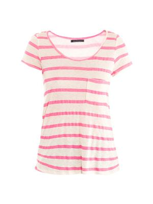 Stripe scoop-neck T-shirt
