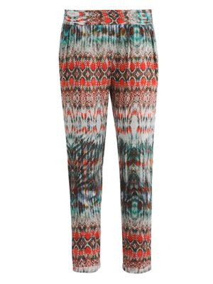 Aztec-print tapered trousers